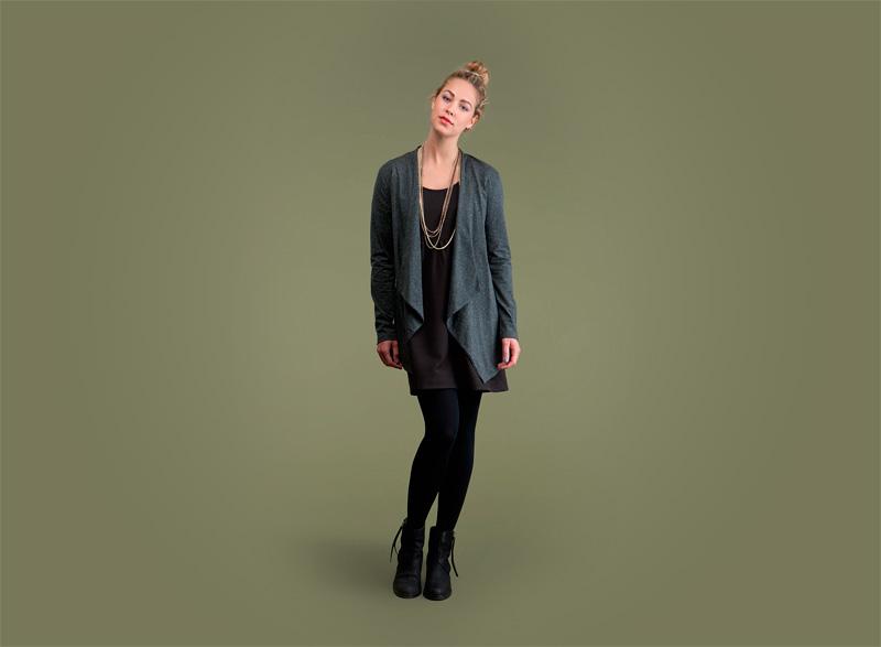 Wemoto – tmavě zelený volný dlouhý dámský top | Dámské podzimní/zimní oblečení