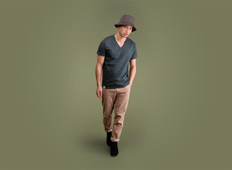 Wemoto – pánské tmavě šedé melírové tričko do V, khaki pánské kalhoty | Pánské podzimní/zimní oblečení