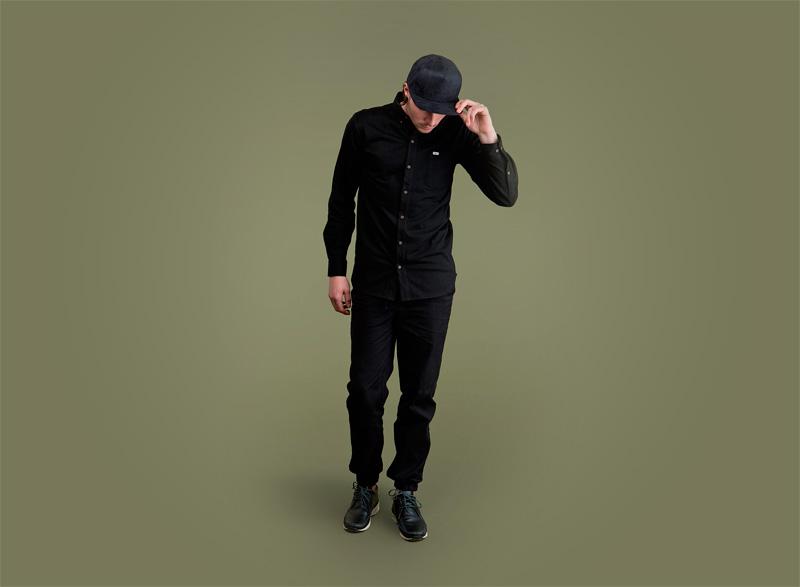 Wemoto – černá sportovní/streetová pánská košile, černé kalhoty jogger s gumou v nohavicích | Pánské podzimní/zimní oblečení