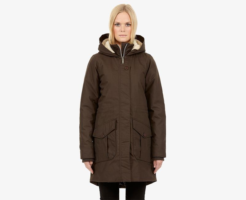 Elvine – dámská dlouhá zimní bunda/parka s kapucí, tmavě hnědá, Josefina | Dámské zimní bundy a parky