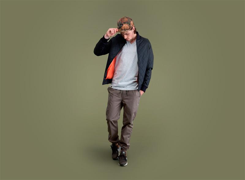 Wemoto – tmavě modrý prošívaný bomber, bunda do pasu (jacket), kalhoty joggers – pánské | Pánské podzimní/zimní oblečení