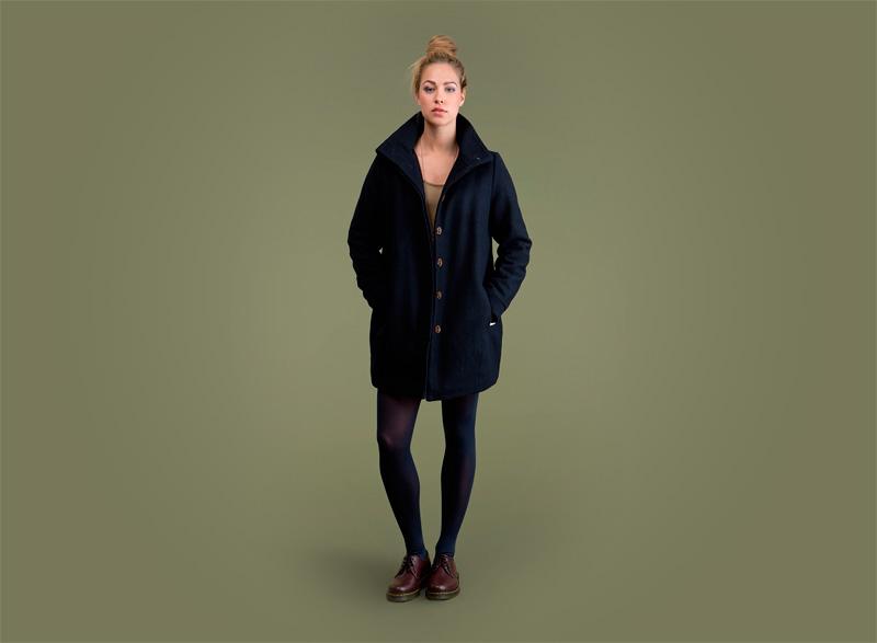 Wemoto – dámský modrý podzimní a zimní kabát | Dámské podzimní/zimní oblečení