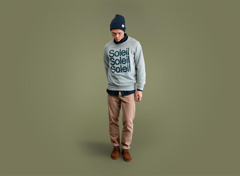 Wemoto – pánská bledě zelená mikina s potiskem, pánské khaki kalhoty | Pánské podzimní/zimní oblečení