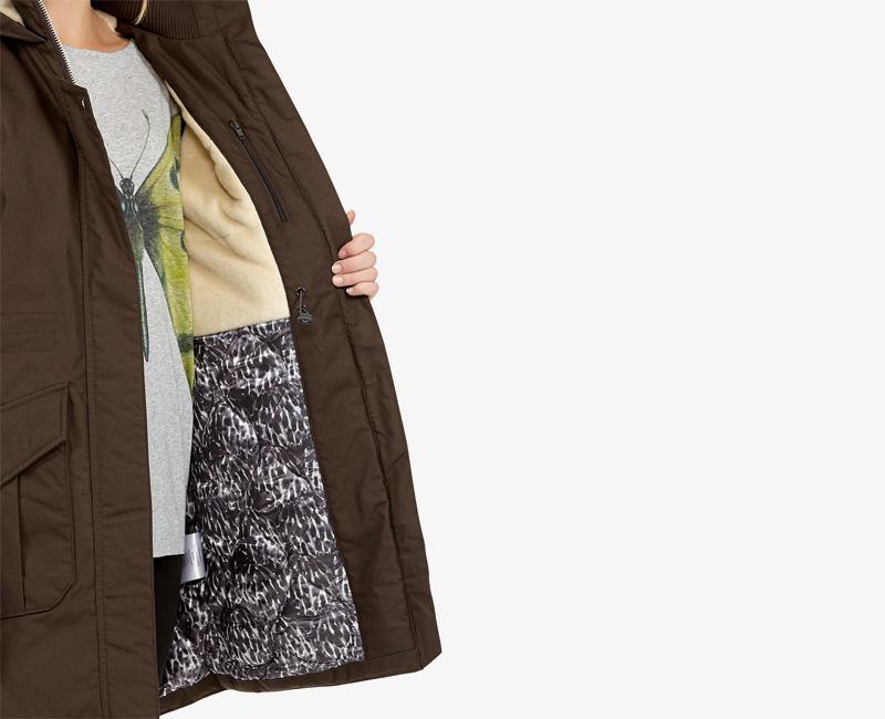 Elvine – dámská dlouhá zimní parka/bunda s kapucí, tmavě hnědá, Josefina | Dámské zimní bundy a parky