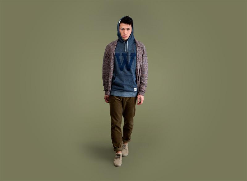 Wemoto – pánský svetr s knoflíky, mikina s kapucí, zeleno-hnědé kalhoty | Pánské podzimní/zimní oblečení