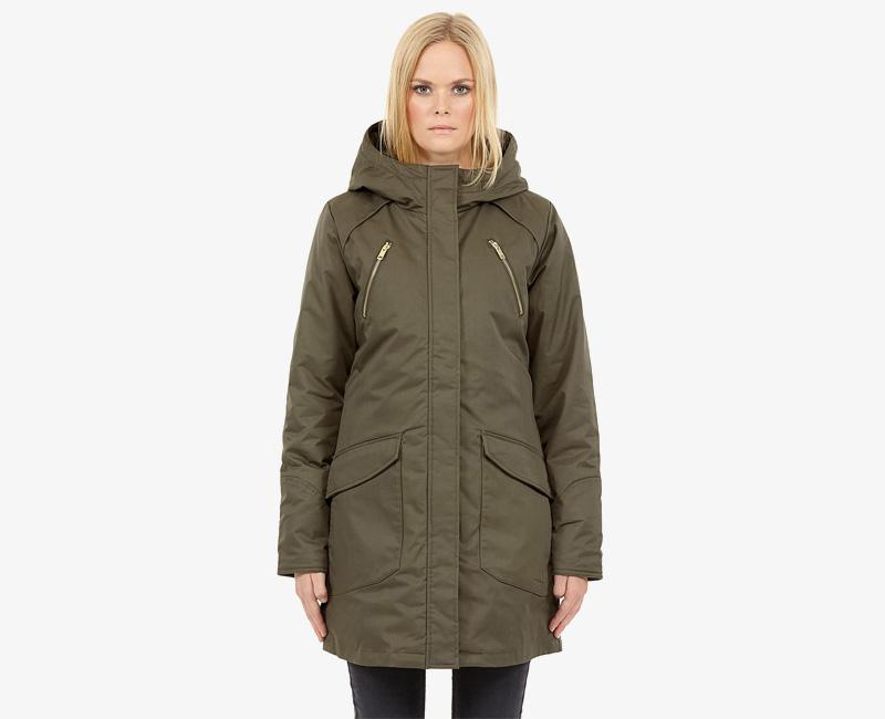 Elvine – dámská dlouhá zimní bunda/parka s kapucí, zelená – olivová, Kate | Dámské zimní bundy a parky