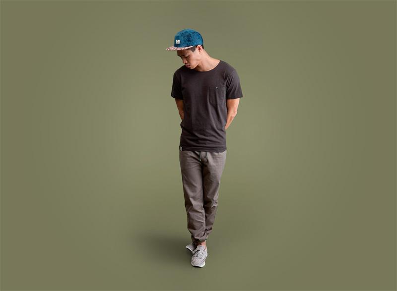 Wemoto – pánské tmavě tmavě šedé tričko s kapsičkou, šedé kalhoty joggers s gumou v nohavicích | Pánské podzimní/zimní oblečení