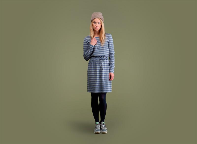 Wemoto – dámské podzimní sportovní šaty s proužky – modré | Dámské podzimní/zimní oblečení