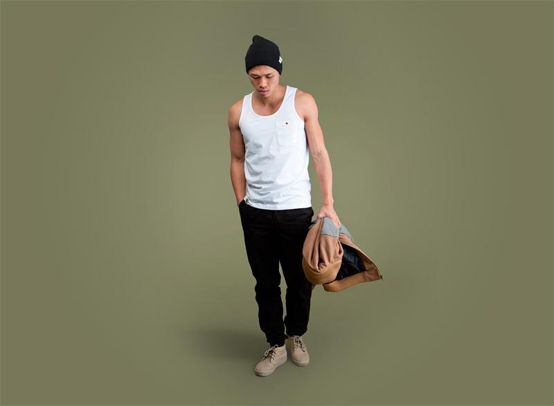 Wemoto – pánský bílý nátělník, pánské černé kalhoty joggers | Pánské podzimní/zimní oblečení