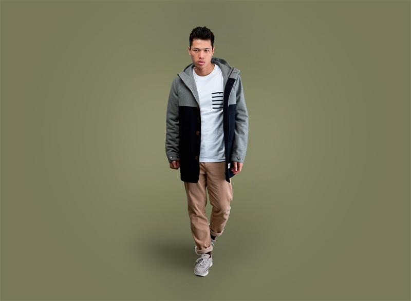 Wemoto – pánský podzimní/zimní bunda, sportovní kabát, modro-šedý | Pánské podzimní/zimní oblečení