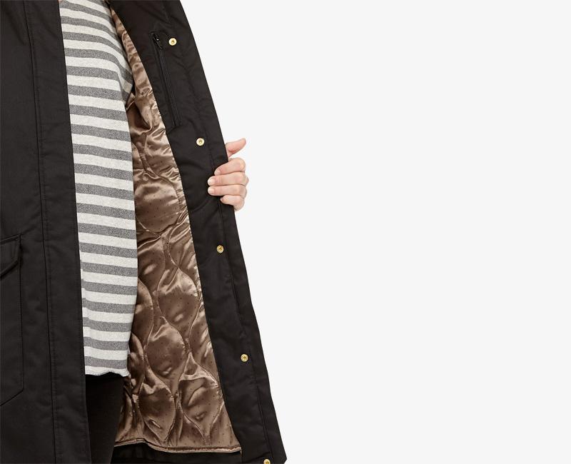 Elvine – dámská dlouhá zimní parka/bunda s kapucí, černá, Kate | Dámské zimní bundy a parky