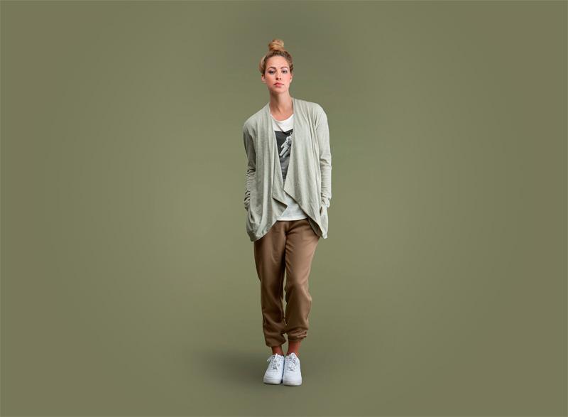 Wemoto – světle zelený volný dlouhý dámský top, hnědé joggers kalhoty | Dámské podzimní/zimní oblečení