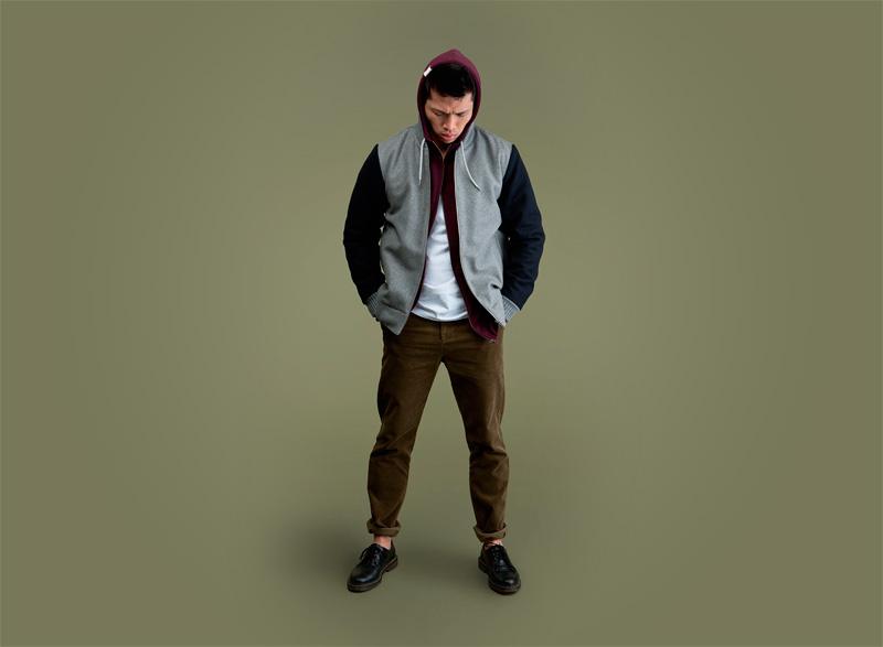 Wemoto – pánský teplákový bomber – šedý – modré rukávy, zeleno-hnědé kalhoty | Pánské podzimní/zimní oblečení