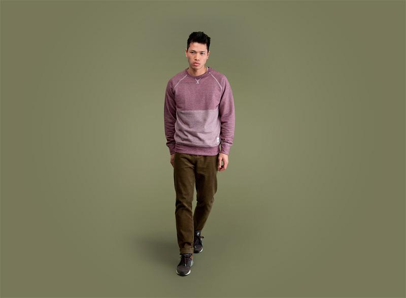 Wemoto – bledě červená melírová pánská mikina, hnědo-zelené pánské kalhoty | Pánské podzimní/zimní oblečení