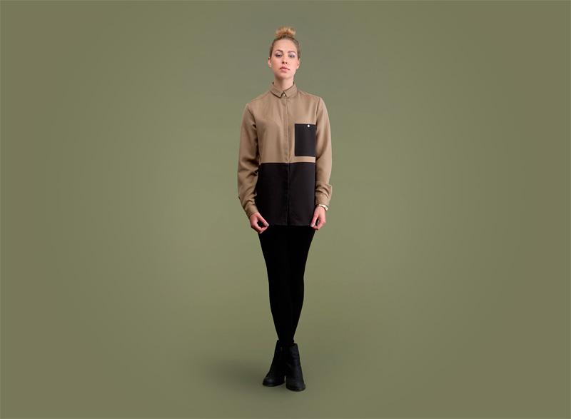 Wemoto – dámská košile – hnědá, černá | Dámské podzimní/zimní oblečení