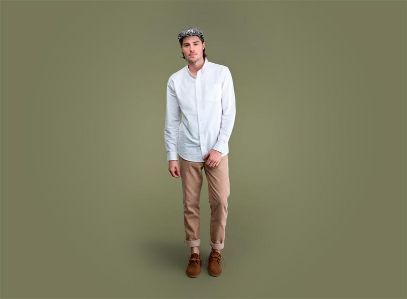 Wemoto – pánská bílá kratší košile s dlouhým rukávem, hnědé (khaki) pánské kalhoty | Pánské podzimní/zimní oblečení
