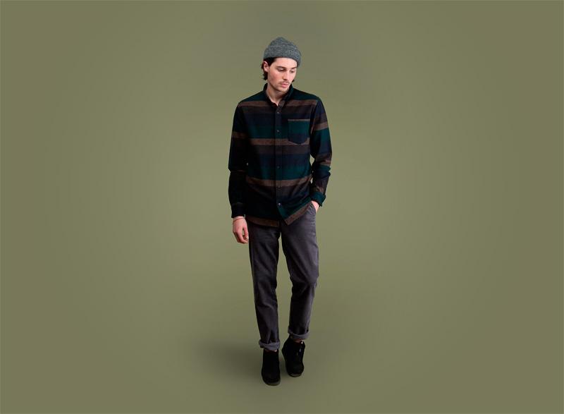 Wemoto – tmavá pruhovaná pánská košile s d louhým rukávem, tmavě šedé kalhoty | Pánské podzimní/zimní oblečení