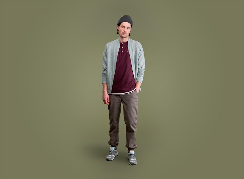 Wemoto – pánská šedá mikina na zip bez kapuce, pánské kalhoty joggers s gumovu v nohavicích | Pánské podzimní/zimní oblečení