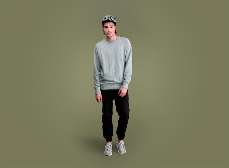 Wemoto – pánská šedá mikina, pánské černé kalhoty joggers s gumou v nohavicích | Pánské podzimní/zimní oblečení