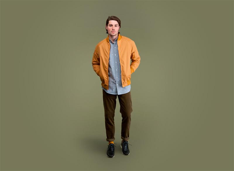 Wemoto – tmavě žlutý pánský bomber (jacket), bunda do pasu, hnědo-zelené kalhoty | Pánské podzimní/zimní oblečení