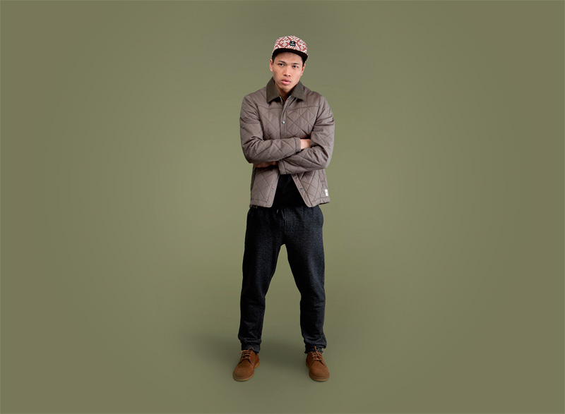 Wemoto – pánská prošívaná podzimní bunda do pasu, pánské tmavě šedé tepláky | Pánské podzimní/zimní oblečení