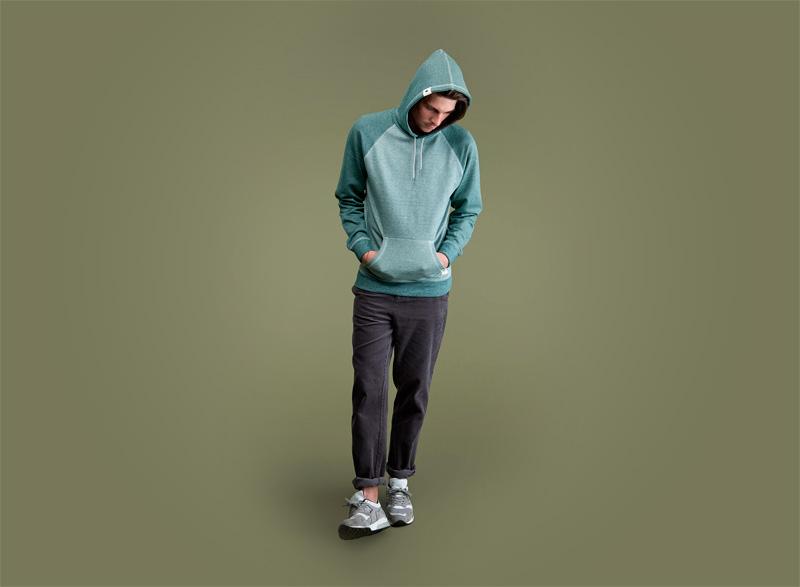 Wemoto – zelená pánská mikina s kapucí, tmavě fialové pánské kalhoty | Pánské podzimní/zimní oblečení
