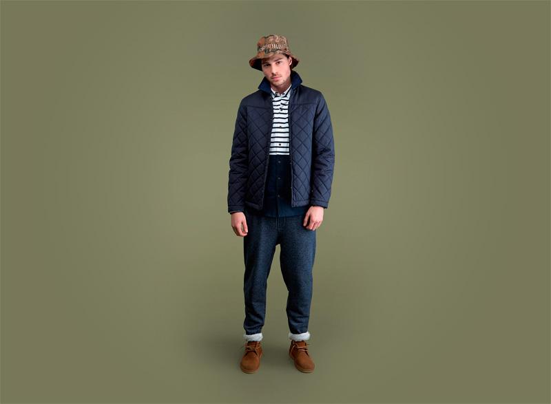 Wemoto – pánská prošívaná podzimní bunda do pasu, modré tepláky | Pánské podzimní/zimní oblečení