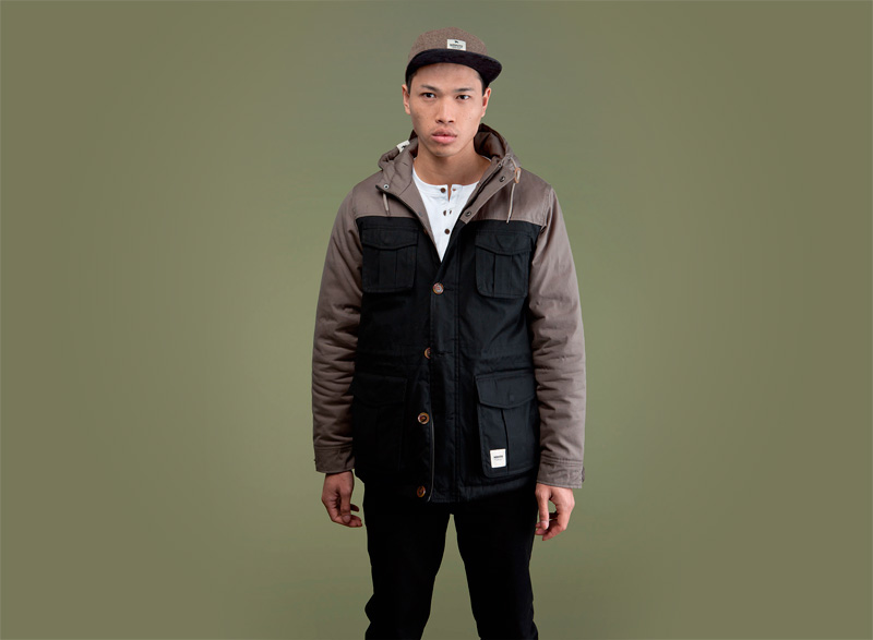 Wemoto – pánská podzimní/zimní bunda s kapucí, černá, ebenové rukávy | Pánské podzimní/zimní oblečení