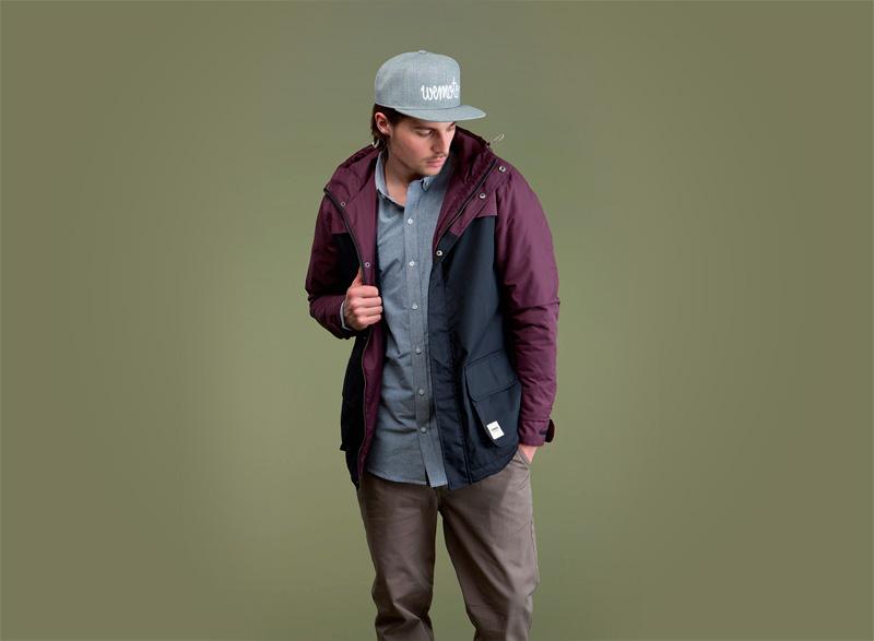 Wemoto – pánská podzimní/zimní bunda s kapucí, tmavě modrá, bordó (vínové, fialové) rukávy | Pánské podzimní/zimní oblečení