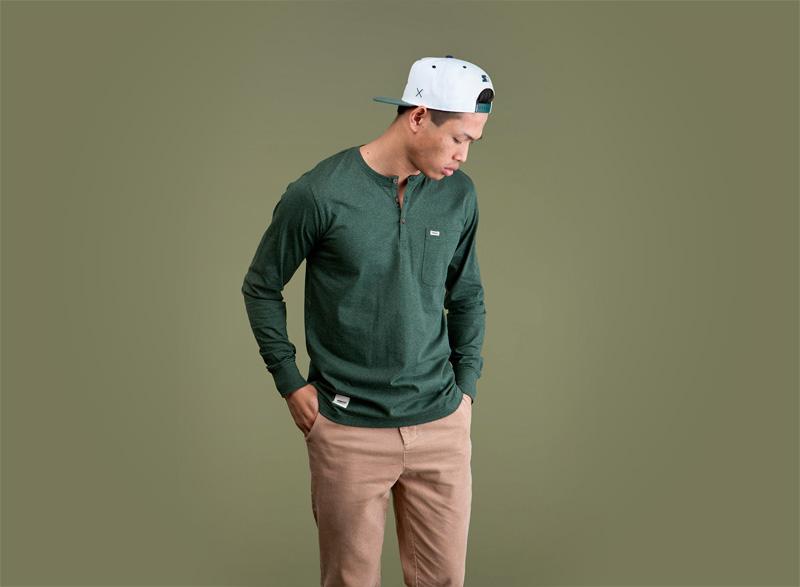 Wemoto – zelené pánské tričko s dlouhým rukávem | Pánské podzimní/zimní oblečení
