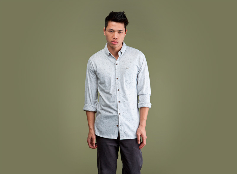 Wemoto – světlá streetová pánská košile s tečkami, s dlouhým rukávem | Pánské podzimní/zimní oblečení