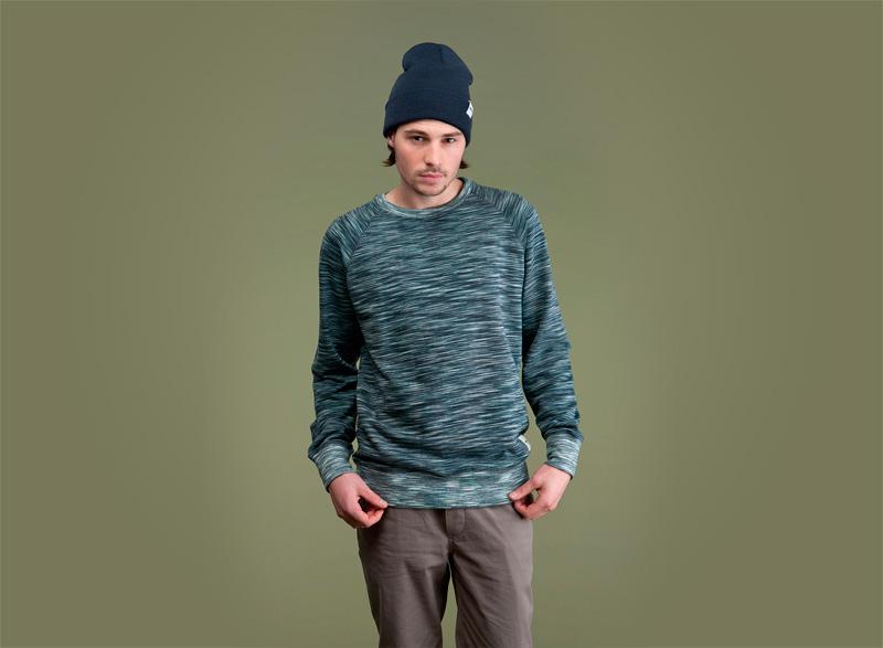 Wemoto – melírová pánská mikina – modro-zelená | Pánské podzimní/zimní oblečení