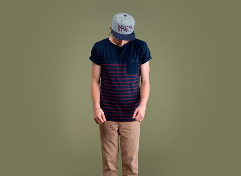 Wemoto – pánské modré tričko s fialovými proužky a s kapsičkou | Pánské podzimní/zimní oblečení