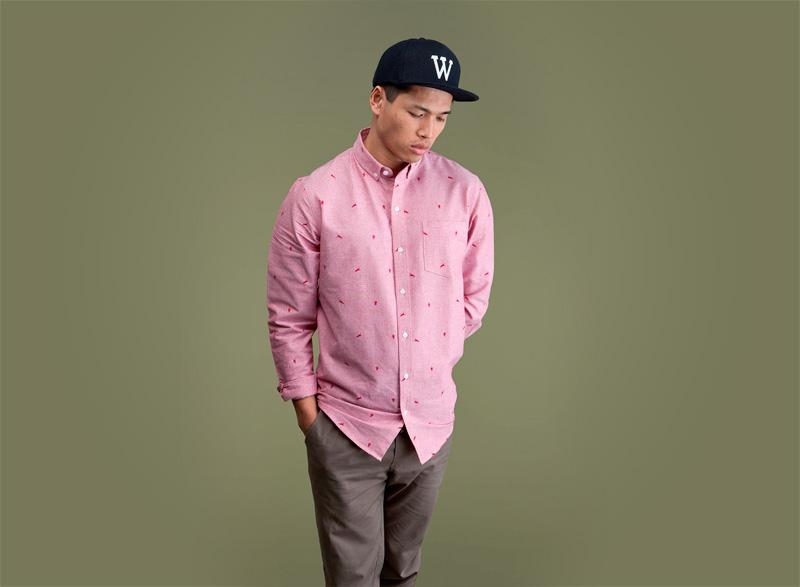 Wemoto – bledě červená/růžová pánská streetová/sportovní košile s dlouhým rukávem | Pánské podzimní/zimní oblečení
