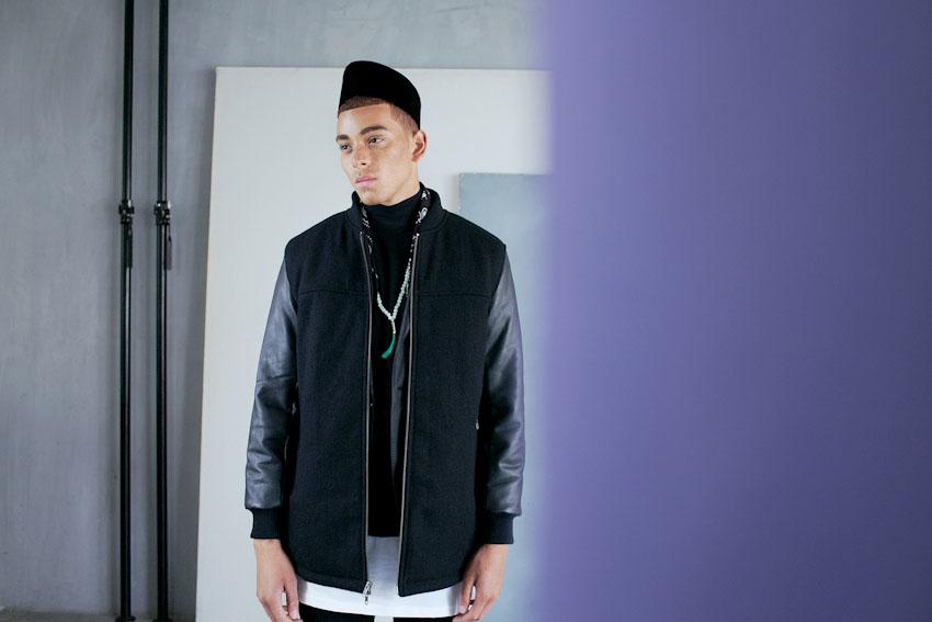 Daily Paper – pánská bunda, bomber jacket, černá, s koženými rukávy | Pánské podzimní a zimní oblečení
