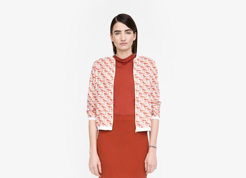 Frisur – červený bomber – dámský, jacket, krátká bunda do pasu, plameňáci, červené čaty | Podzimní a zimní oblečení – dámské