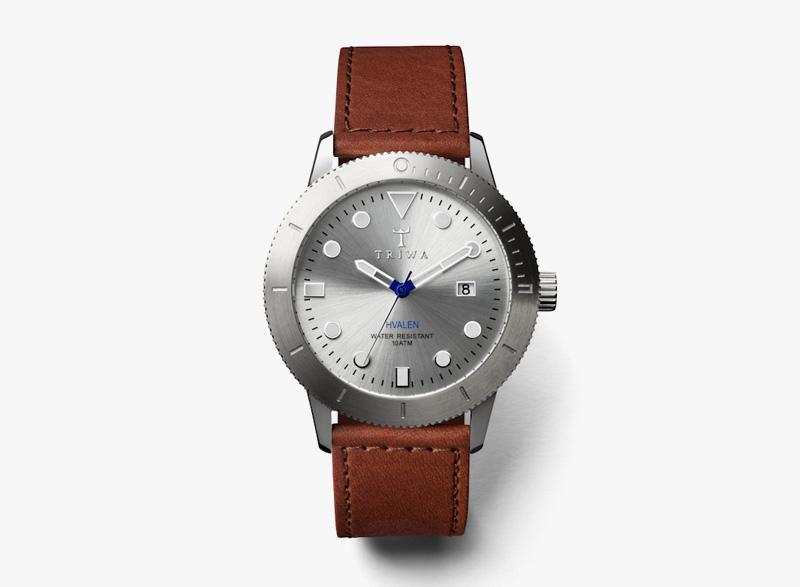 Hodinky Triwa – pánské – ocelové pouzdro – stříbrné, hnědý řemínek – Stirling Hvalen | Náramkové luxusní hodinky
