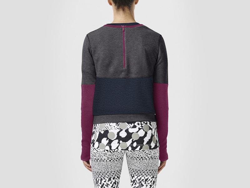 Nike – mikina dámská, modro-šedá, fialové rukávy, zip na zádech | Color Block