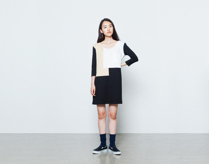 Aloye – dámské šaty, černo-bílo-béžové, minimalistické | Japonská móda