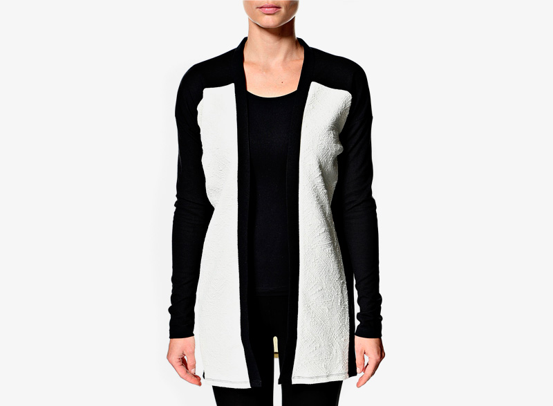 Cardigan Modström Vioca – dámský dlouhý svetr, černobílý, bavlněný | Dámské cardigany, svetry