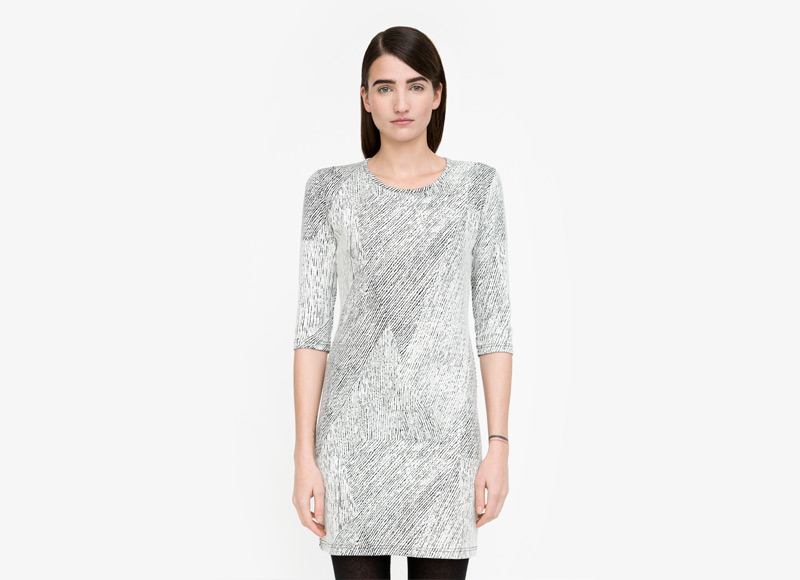 Frisur – černobílé šaty se vzorem, do půle stehen, dámské | Podzimní a zimní oblečení – dámské