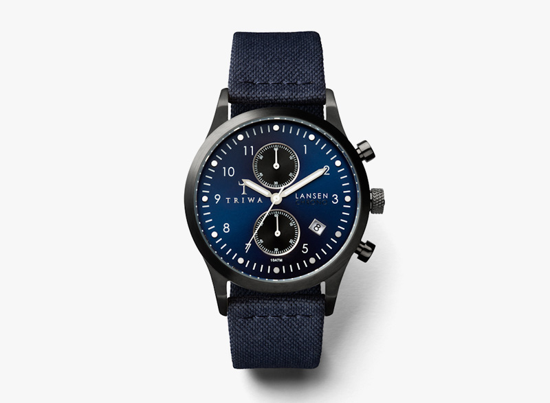 Hodinky Triwa – pánské – modré, modrý náramek, černé ocelové pouzdro – Dusk Lansen Chrono | Náramkové luxusní hodinky
