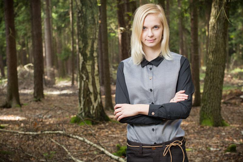 Pattern – dámská košile, šedá, černé rukávy | Dámské oblečení