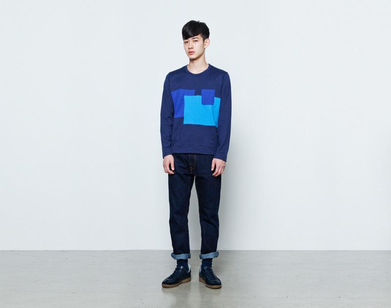 Aloye – pánská modrá mikina, tričko s dlouhým rukávem | Japonská móda