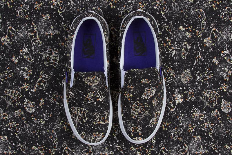 Boty Vans x Liberty – Classic Slip-On – černé, barevné vzory souhvězdí  – Kevin | Pánské a dámské nízké tenisky Vans