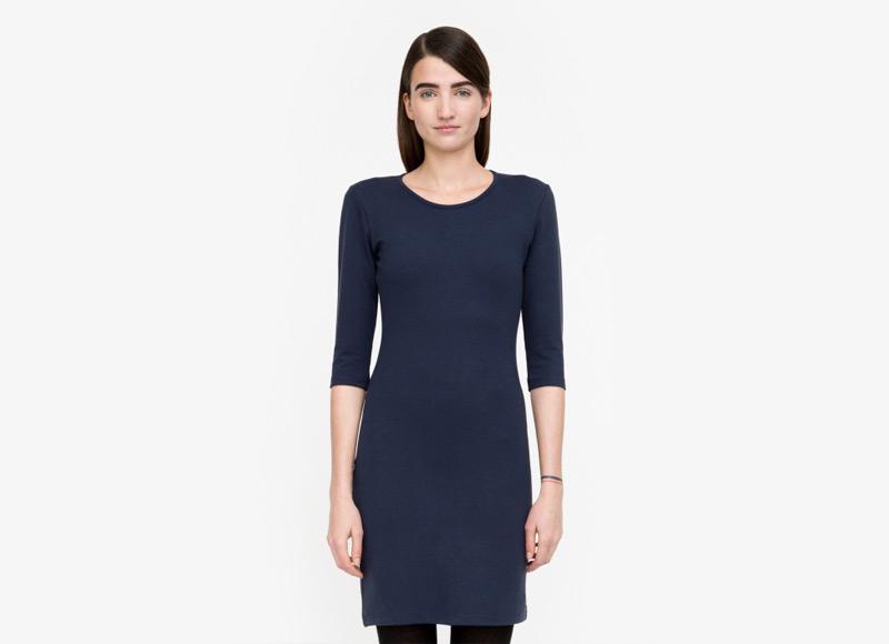 Frisur – modré šaty se vzorem, do půle stehen, dámské | Podzimní a zimní oblečení – dámské