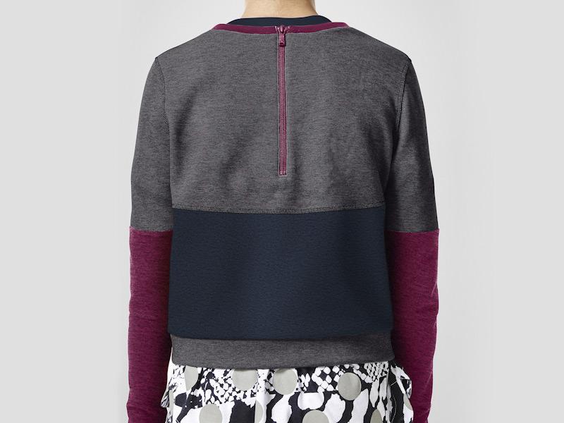 Nike – dámská mikina, modro-šedá, fialové rukávy | Color Block