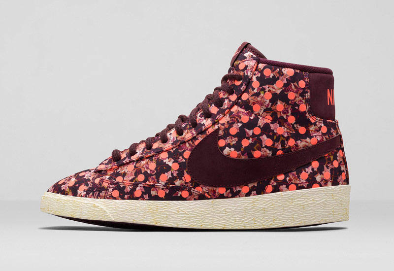 Boty Nike x Liberty – Blazer Mid, se vzory, vínové, oranžové | Dámské kotníkové tenisky