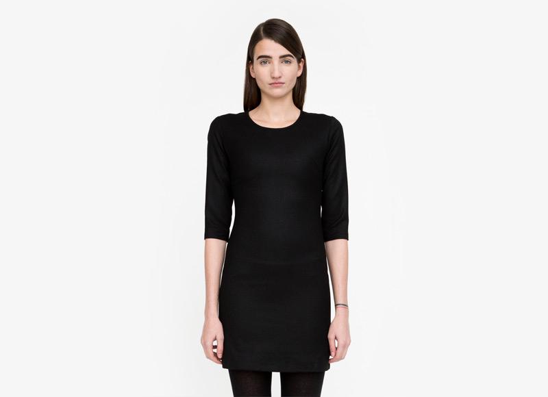Frisur – černé šaty se vzorem, do půle stehen, dámské | Podzimní a zimní oblečení – dámské