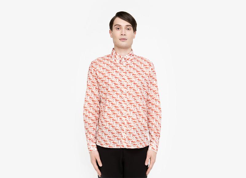 Frisur – pánská košile s plameňáky, dlouhý rukáv | Podzimní a zimní oblečení – pánské